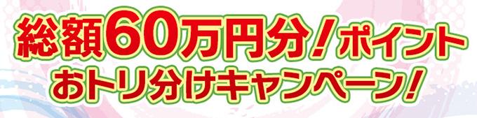 総額60万円分!ポイントおトリ分けキャンペーン!